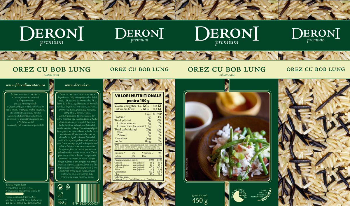 Deroni - rice packaging